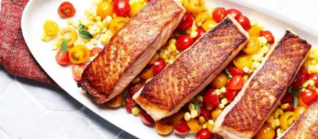 Salmon with Corn and Tomato Salad Recipe | Food Network