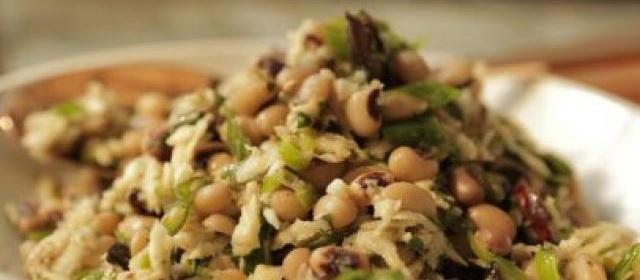 Black Eyed-Pea Salad with Fried Kalamata Olives and Parsnip