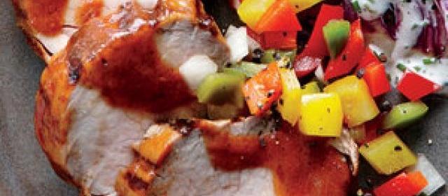 BBQ Pork Tenderloin with Bell Pepper Relish