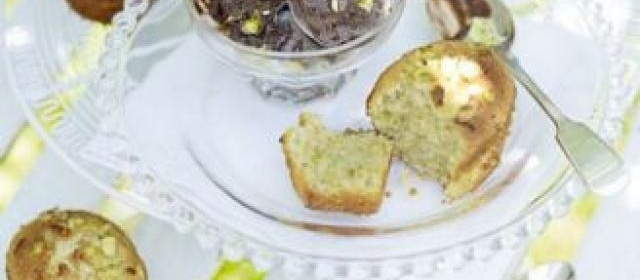 Pistachio friands with chocolate ice cream