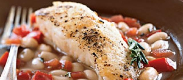Halibut with White Beans in Tomato-Rosemary Broth Recipe ...