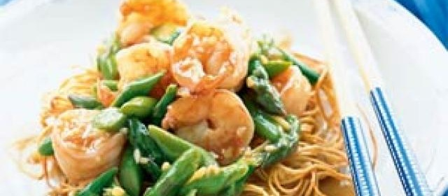 Asparagus and Shrimp Stir-Fry on Noodle Pillows Recipe ...