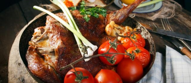 Orange and Cumin Leg of Lamb with Roasted Tomatoes