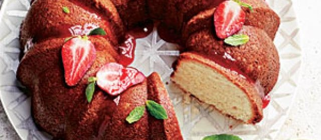 Pound Cake with Strawberry Glaze