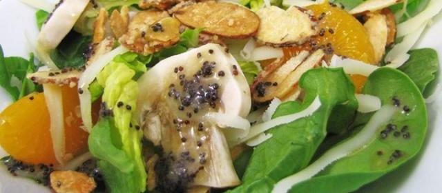 Sugar Toasted Almond Spinach Salad