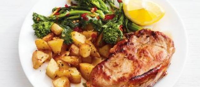 Pork Chops with Potatoes and Spicy Broccoli Rabe
