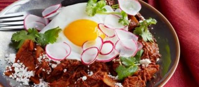 Chicken Chilaquiles With Fried Eggs