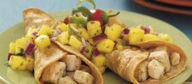 Chicken Tacos with Pineapple Pico de Gallo