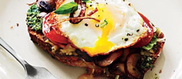 Open-Faced Sandwiches with Mushrooms and Fried Eggs Recipe ...