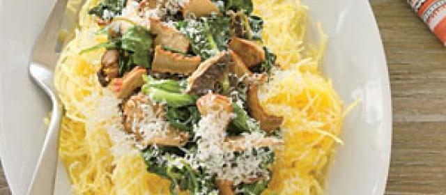 Spaghetti Squash with Sautéed Spinach