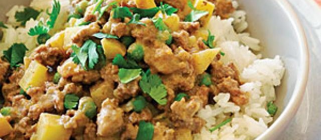 Lamb Keema with Potatoes and Peas