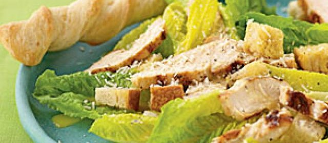 Hearts of Romaine Caesar Salad with Grilled Chicken Recipe ...