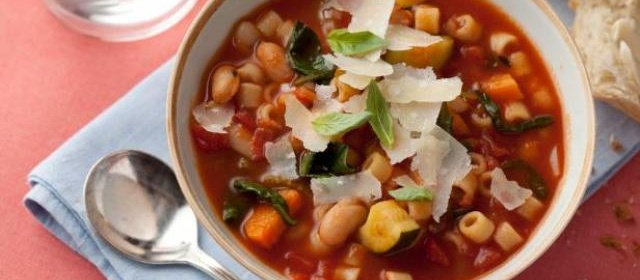 Minestrone Soup with Pasta, Beans and Vegetables Recipe