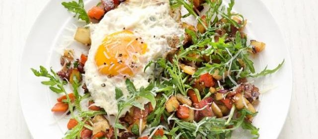 Root Vegetable Salad with Fried Eggs Recipe