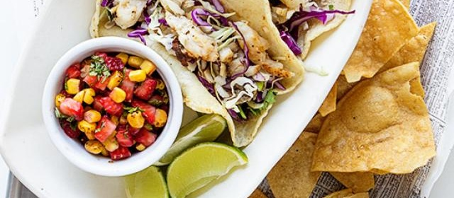 Fish Tacos with Strawberry Corn Salsa