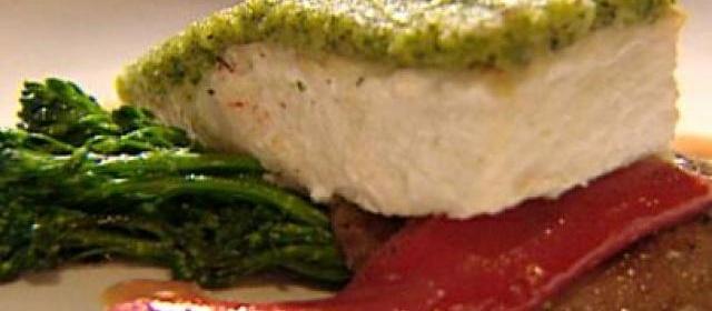 Brioche and Pesto Crusted Halibut with Portobello Caps, Broccoli ...