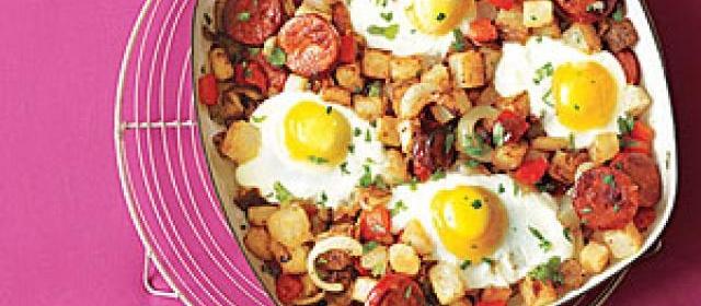 Potato, Pepper and Chorizo Hash with Fried Eggs Recipe ...