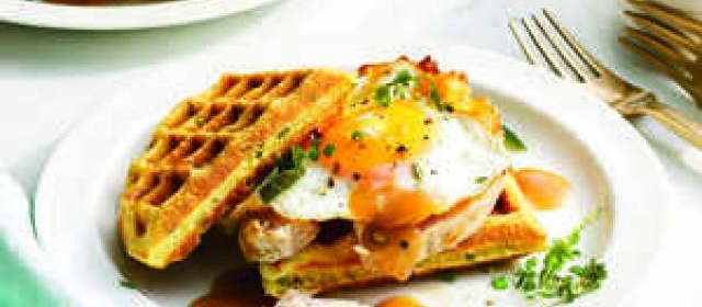 Turkey-and-Gravy Waffle Sandwich with Sunny-Side-Up Egg Recipe ...