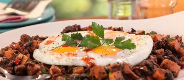Jerk Pork Belly and Sweet Potato Hash with Fried Eggs Recipe ...