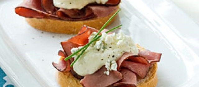 Beef and Blue Crostini