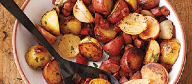 New Potatoes with Onions and Spicy Sausage