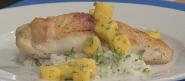 Seared Mahi-Mahi with Mango Sauce and Fragrant Rice Recipe ...