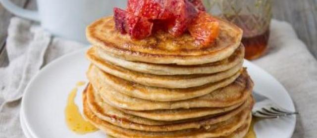 Blood Orange Whole-Wheat Ricotta Pancakes