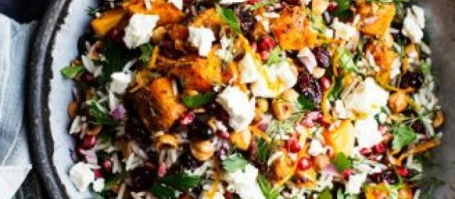Black & white rice salad with cumin-roasted butternut squash
