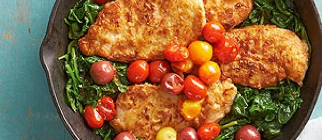 Pan fried chicken with polenta and vegetables