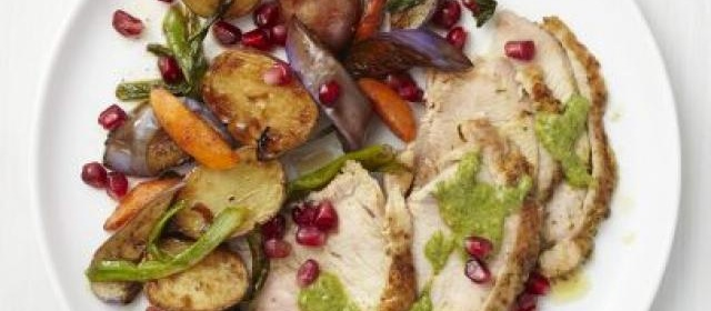 Pomegranate Turkey with Roasted Vegetables