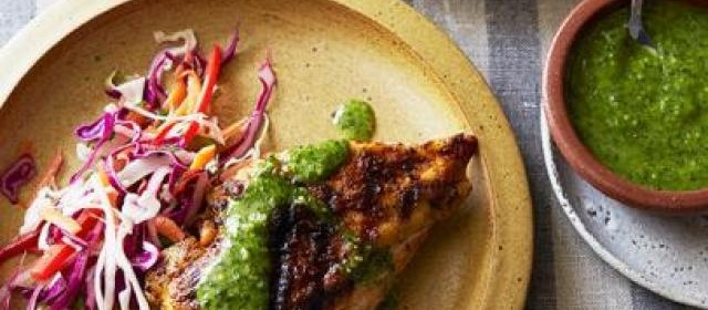 Spanish Spice Rubbed Chicken Breasts with Parsley-Mint Sauce ...