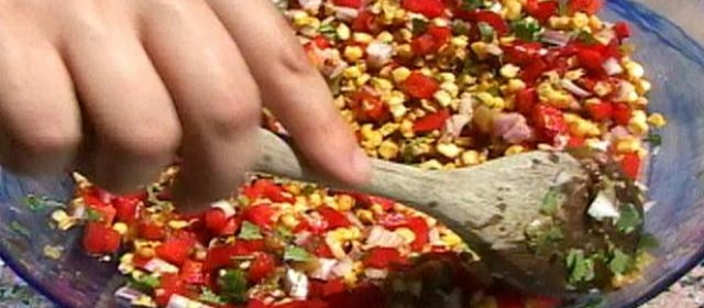 Roasted Corn and Green Relish Recipe | Food Network