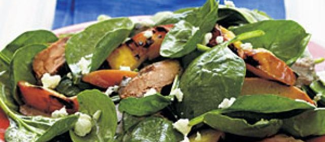 Spinach Salad with Grilled Pork Tenderloin and Nectarines Recipe ...