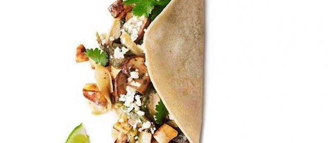Poblano, Mushroom and Potato Tacos Recipe | Food Network ...