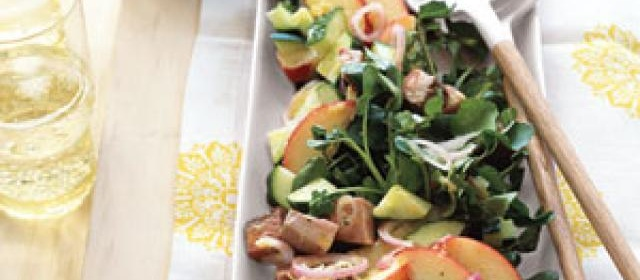 Beef, Watercress, and Peach Salad with Lime Vinaigrette Recipe ...