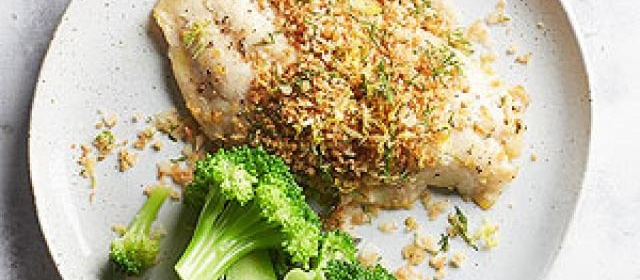 Lemon Baked Fish with Dill Panko Topping
