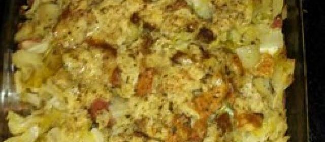 Mennonite Cabbage Potato Kielbasa Bake