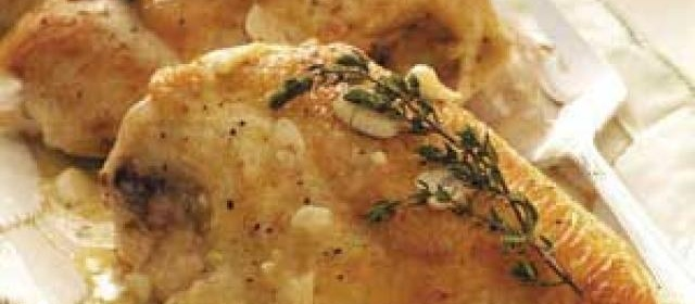 Roasted Chicken with Garlic-Sherry Sauce