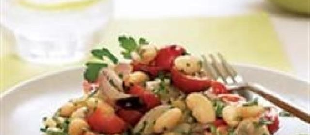 White Bean, Roasted Shallot, and Cherry Tomato Salad