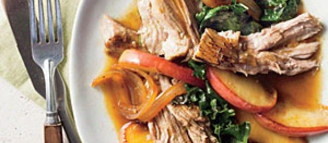 Smothered Vinegar Pork Shoulder with Apples and Kale Recipe ...
