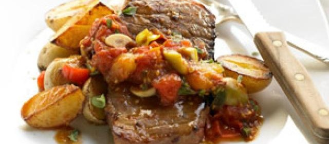 Beef and Baby Spuds with Tomato-Olive Ragout