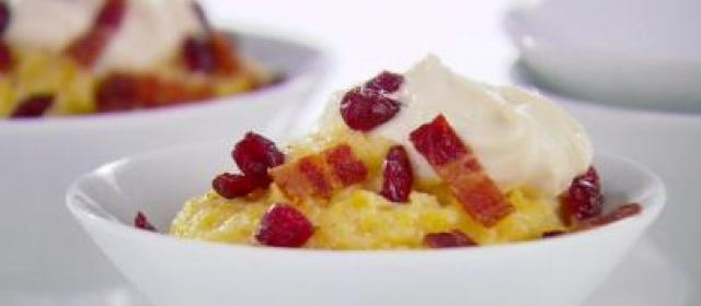 Creamy Polenta with Bacon and Cranberries