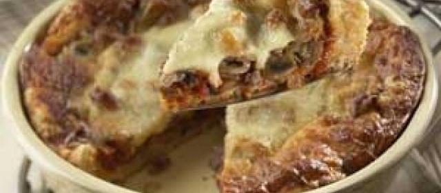 1-Dish Sausage & Mushroom Pizza Bake