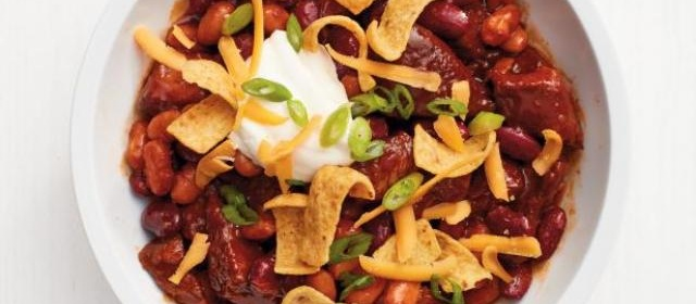 Slow-Cooker Barbecue Chili with Corn Chips Recipe