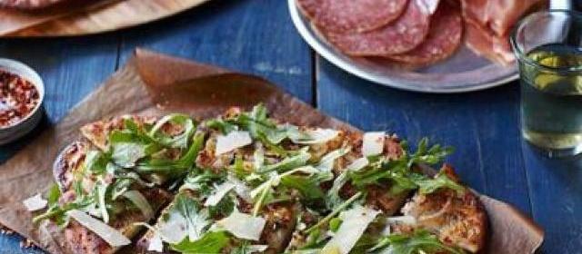 Potato Pizzas with Arugula Salad