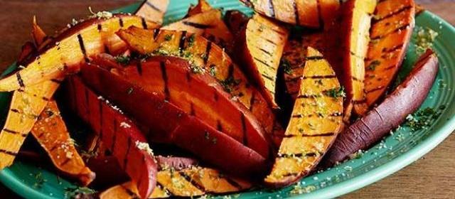 Garlic and Herb Grilled Sweet Potato Fries Recipe