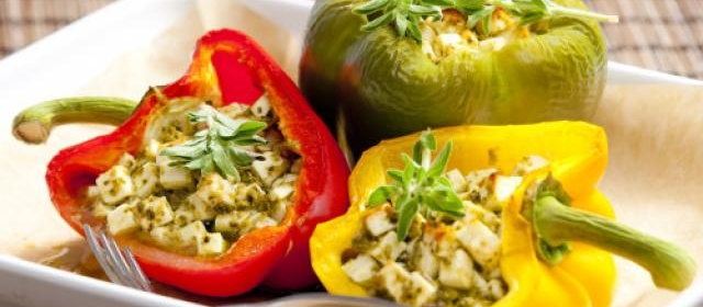 Baked peppers with blue cheese