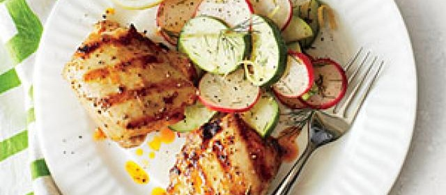 Spicy Grilled Chicken Thighs with Cucumber-Radish Salad Recipe ...