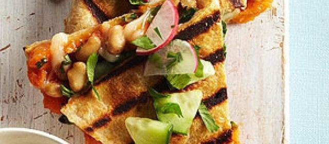 Sweet Potato Quesadillas with Cucumber Relish