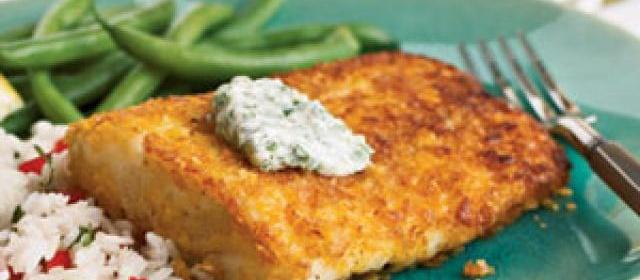 Cornflake-Crusted Halibut with Chile-Cilantro Aioli Recipe ...